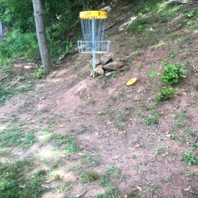 Hole 3 's basket from the fairway